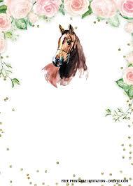 Free Printable Horse Floral Vintage Invitation Templates En 2020