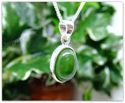 green jade silver pendant necklace oval