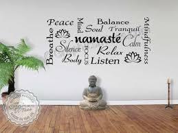 Namaste Yoga Quote Wall Sticker Montage Meditation Wall Art Etsy Yoga Words Yoga Studio Decor Yoga Wall Art