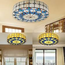 stained glass drum ceiling light dining