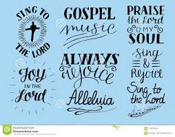 set of hand lettering christian quotes sing to the lord