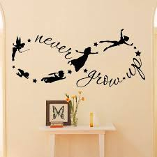 Peter Pan Wall Decal Children Flying Silhouette Never Grow Up Quote Fantasy Fairytale Infinity Sy Boy Room Wall Decor Nursery Wall Decals Kids Room Wall Decals