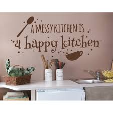 A Messy Kitchen Is A Happy Kitchen Wall Decal Wall Decal Sticker Mural Vinyl Art Home Decor Quotes And Sayings 4510 White 24in X 11in Walmart Com Walmart Com