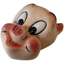 Vintage Ceramic Porky Pig Wall Mask Plaque Warner Bros Historique Ruby Lane