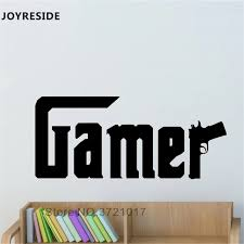 Joyreside Gamer Quotes Wall Decal Games Gun Pattern Wall Sticker Vinyl Decor Home Boys Kids Bedroom Decor Interior Design A953 Wall Stickers Aliexpress