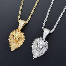 lion head diamonds pendant necklaces