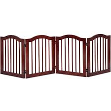 4 Panel Wood Dog Gate Pet Fence Barrier Folding Freestanding Doorway Fence Doggie Puppy Fencing Enclosure System Indoor Safety Gate For Dogs