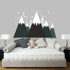 Large Mountain Wall Decal Art Above Bed Boy Bedroom Mountains Decor Kids Sa350 Ebay