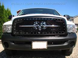 Royalty Core Dodge Ram 1500 2002 2005 Rc2 Main Grille Twin Mesh With Goat Skull Logo Dodge Ram 1500 Dodge Ram Dodge Truck Accessories