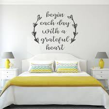 Amazon Com Gratitude Quote Wall Decal Begin Each Day With A Grateful Heart Christian Religious Themed Vinyl Lettering Home Decor Handmade