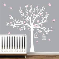 Tree Wall Decals Nursery Wall Decals Flower Stickers Pink Etsy