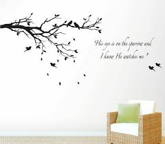 His Eye Is On The Sparrow And I Know He Watches Me And Tree Branch Wall Decal For Sale Online