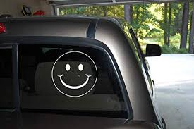 Amazon Com Classy Vinyl Creations Smiley Face Car Truck Automotive Window Black Or White Decal Bumper Sticker 5 3 H X 5 3 W Home Kitchen