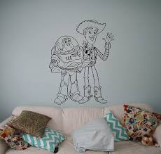 Amazon Com Toy Story Buzz Sheriff Woody Vinyl Decal Wall Sticker Cartoons Home Interior Children Kids Room Removable Decor 4 Tsy Home Improvement