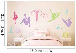 Wallmonkeys Colorful Gymnastics Silhouettes Peel And Stick Wall Decals Mural Wm149098 48 In W X 32 In H Walmart Com