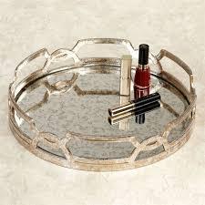 antique mirrored glass round vanity tray