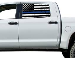 Universal Thin Blue Line Flag Window Tint Perforated Vinyl Fits Truck Roe Graphics And Apparel