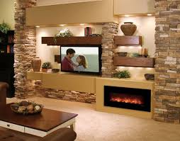 media wall with juno lights fireplace