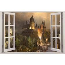 Hogwarts Harry Potter 3d Window View Decal Graphic Wall Sticker Art 10 940 Crc Liked On Polyvore Featuring Home Home Decor Wall Fotos Creatividad H P