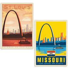 St Louis Missouri Arch Vinyl Decal Set Of 2 At Retro Planet