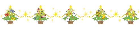 クリスマスツリーで作ったラインフレームイラストです。かわいいツリーで雰囲気はハッピー♪ | 園だより、おたよりで使えるかわいいイラストの無料素材集【 イラストだより】