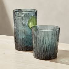 stroke teal textured drinking glasses