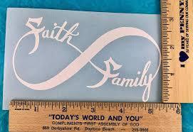 Amazon Com Faith Family Infinity White Vinyl Decal New Gift Handmade