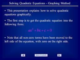 solving quadratic equations graphing