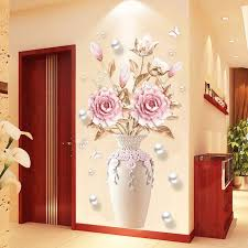 Creative Peony Flowers Vase Wall Sticker For Living Room Bedroom Decal 3d Wall Stickers Removable Wall Decoration Painting Decor T200111 Quotes Stickers For Walls Quotes Wall Stickers From Qiansuning666 23 3 Dhgate Com