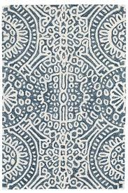 hooked wool blue white area rug