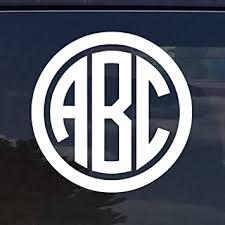 Amazon Com Custom Circle Monogram Initials Vinyl Decal Sticker Cars Yeti Cup Laptop Phone 2 White Automotive
