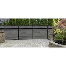 Veranda Euro Style 6 Ft H X 6 Ft W Estate Oxford Grey Aluminum Composite Horizontal Fence Section Ef 01400 The Home Depot