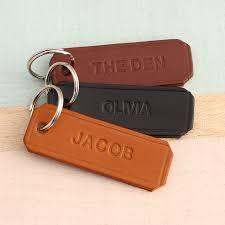 personalised embossed leather keyring
