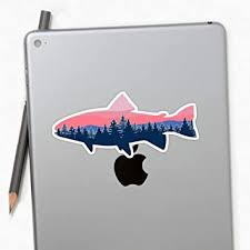 Amazon Com Fish Sunset Tree Line Sticker Stickers 3 Pcs Pack Perfect For Water Bottle Laptop Phone Extra Durable Vinyl Decal Office Products
