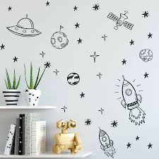 Space Wall Decals For Boy Room Outer Space Nursery Wall Sticker Decor Rocket Ship Astronaut Vinyl Decal Planet Decor Kids Zb163 Bedwinthine