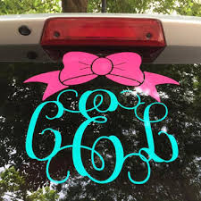 Bow Monogram Car Decal Monogram Bow From Canddvinyldesigns On