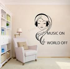 Art Wall Sticker Music On World Off Room Decorative Girls Music Keys Removeable Poster Quotes Teen Mural Headphones Decorly71 Wall Stickers Aliexpress