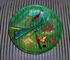 shawn athari iridescent art glass plate