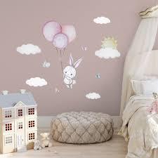 Baby Girl Wall Sticker Bunny Nursery Wall Decal Bunny Wall Decal Girl Kidscutedecorations