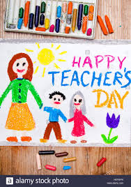 Colorful drawing - Teacher's Day card Stock Photo - Alamy