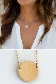 hammered gold disc necklace gold