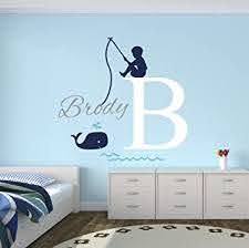 Amazon Com Fishing Boy Personalized Name Wall Decal Baby Boy Room Decor Nursery Wall Decals Nautical Wall Decals Whale Vinyl Wall Sticker Baby