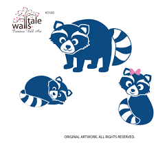 Raccoon Family Wall Decal For Forest Theme Nursery