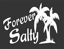 Amazon Com Barking Sand Designs Forever Salty Ocean Beach Palm Tree Die Cut Vinyl Window Decal Sticker For Car Truck Automotive