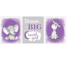 Safari Animals Purple Baby Girl Nursery Decor Wall Art Prints Elephant Giraffe Home Decor Kids Bedroom Pictures Set Of 3 Unframed Prints Or Canvas Dezignerheart Designs C Personalized Baby Nursery