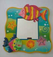 colorful wooden fish ocean wall mirror
