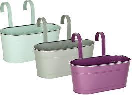 Pastel Colours Double Fence Planters Garden Outdoor Metal Pots Hanging Baskets Pistachio Green Amazon Co Uk Garden Outdoors