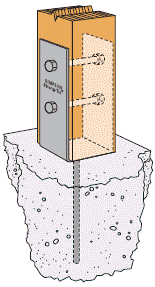 Post Bracket Mounted In Concrete Peer Concrete Fence Posts Concrete Fence Deck Posts