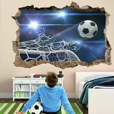 Football Goal Nets 3d Wall Sticker Mural Decal Kids Room Decor Soccer Ball Gd20 Ebay