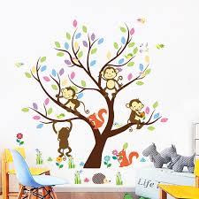 Monkey Squirrel Cartoon Wall Sticker Brand Kindergarten Children S Room Bedroom Decor Poster Paper Monkey Climbing Tree Decals Wall Stickers Aliexpress